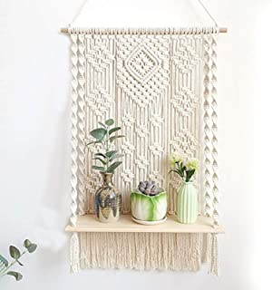 decoraci/ón de Pared estantes Colgantes de Cuerda oscilante Blanco HERCHR Estantes de 2 Piezas para Pared estanter/ía de Flores para Plantas