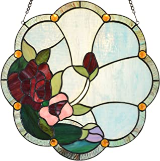 Bieye W10058 Rose Tiffany Style Stained Glass Window Panel with Chain, 16-inch Wide
