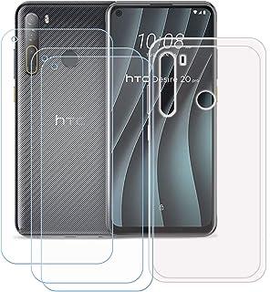 TTJ Transparent omslag för HTC Desire 20 Pro [3 stycken] HD pansarglas, mobiltelefonfodral silikon skyddande lock TPU Case...