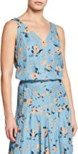 Rebecca Taylor Women's Daniella Silk Tank Top, Lagoon Combo, Medium