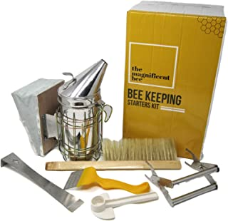 Premium Beekeeping Supplies Starters Kit | 6 Piece Tool Set | Includes Bee Hive Smoker, Uncapping Fork Tool, Bee Brush, Frame Grip, Extracting Scraper, Bee Feeder Tool