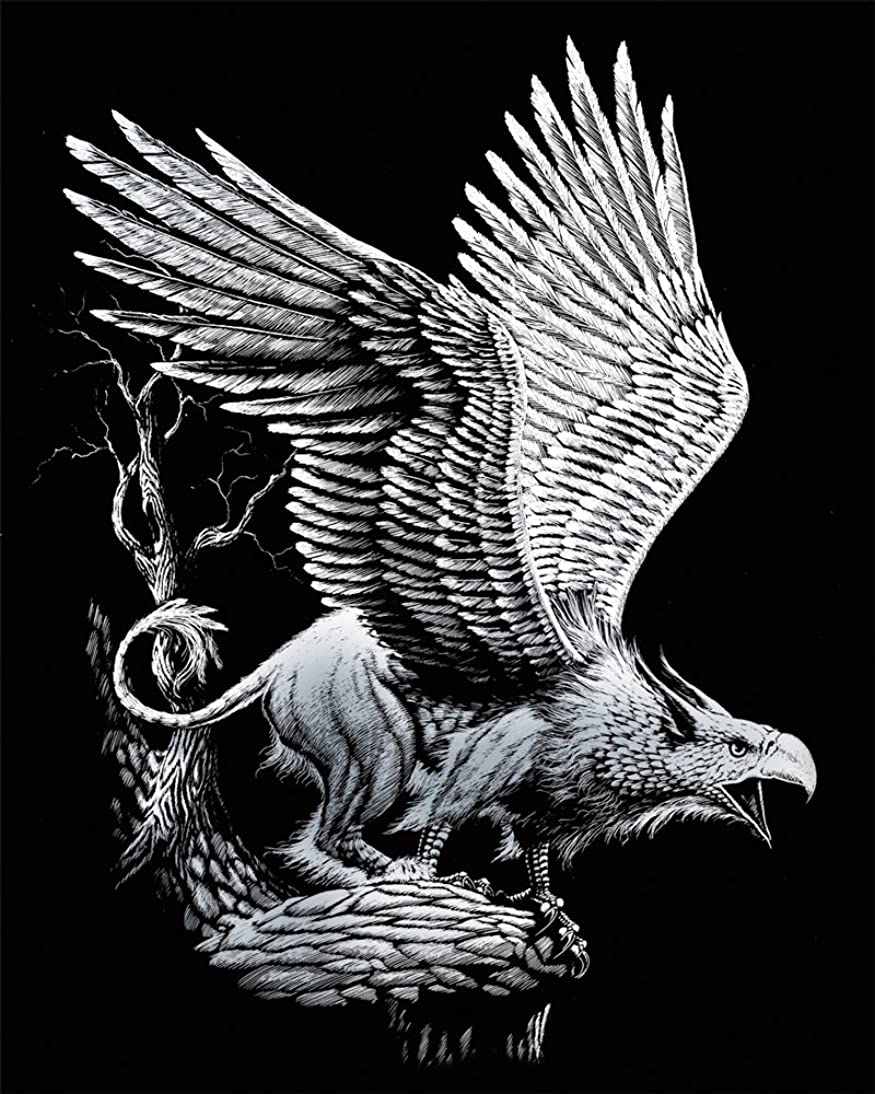 ROYAL BRUSH Silver Foil Engraving Art Kit, 8 by 10-Inch, Screaming Griffin