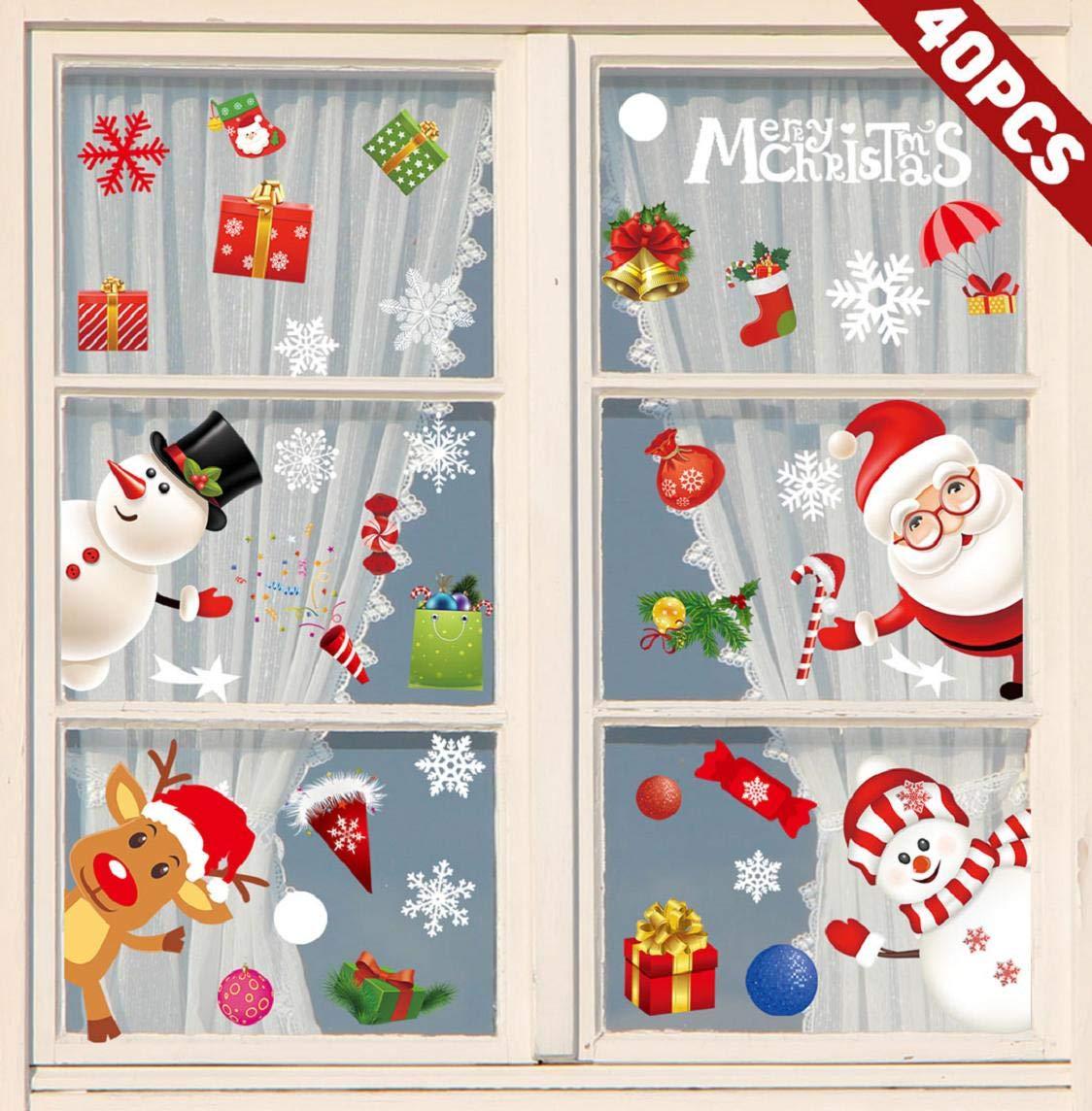 heekpek Pegatinas Ventana Navidad Santa Muñeco de Nieve Pegatinas ...