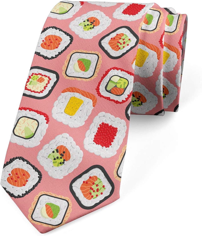Ambesonne Men's Tie, Asian Famous Food Seafood, Necktie, 3.7
