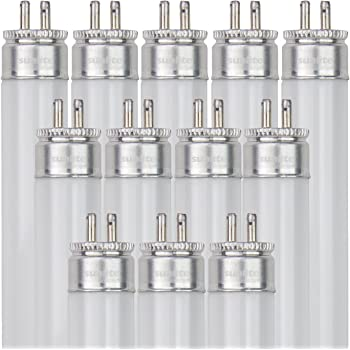 Sunlite F54T5/850/HO/12PK T5 High Output Performance Mini Bi-Pin (G5) Base Straight Tube Light Bulb (12 Pack), 54W/5000K, Soft White