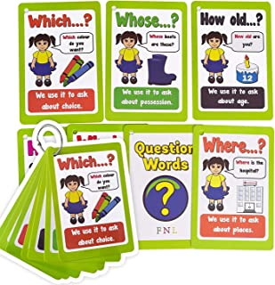 HONTOUSIP Question Words English Flashcards  Sentences Grammar Learning Pocket Word Cards  For Pre-K/Teacher/Autism Therap...