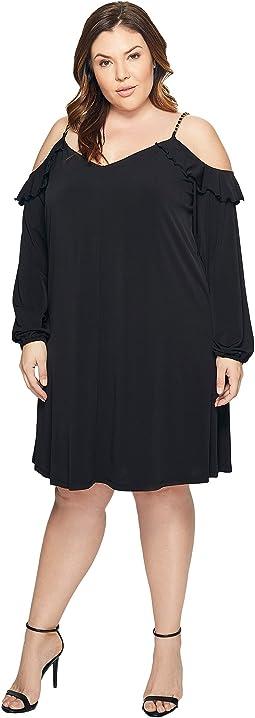 Plus Size Cold Shoulder Chain Strap Dress