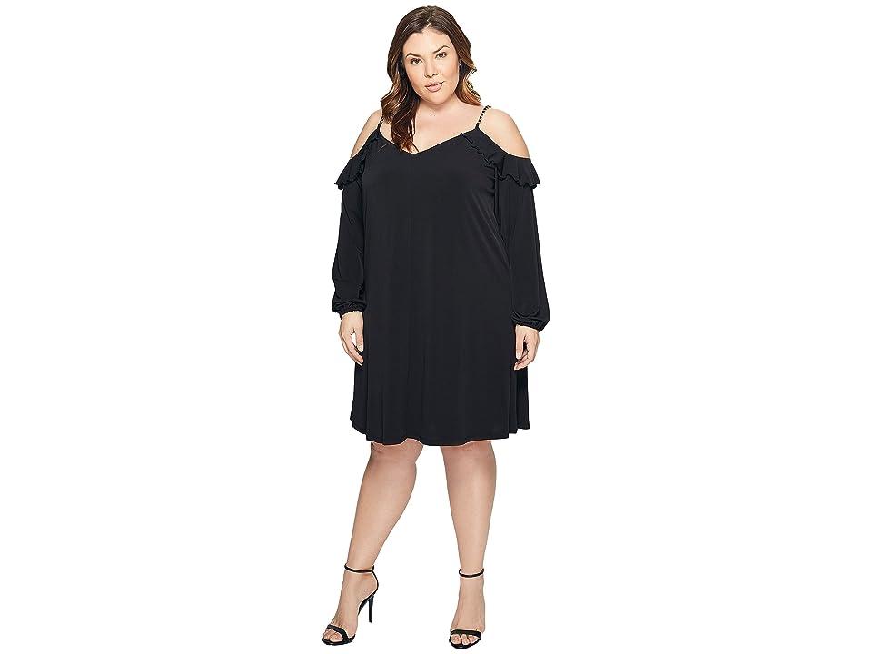 MICHAEL Michael Kors Plus Size Cold Shoulder Chain Strap Dress (Black) Women