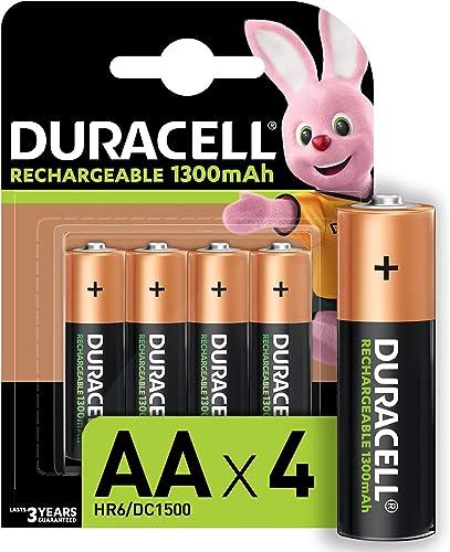 Duracell Piles Rechargeables AA 1300 Mah, pack de 4 piles