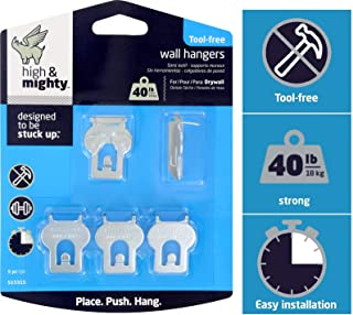 High & Mighty 515315 Tool Free Picture Hanging Kit 40 lb Limit, 5 Pieces, Silver