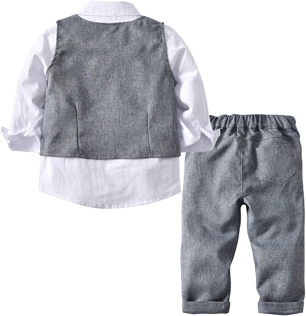 Boy 4 Pcs Clothing Set Shirt Vest and Pants BINIDUCKLING Kid Formal Suit with Bow Tie