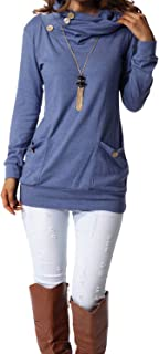Womens Long Sleeve Button Cowl Neck Casual Slim Tunic...