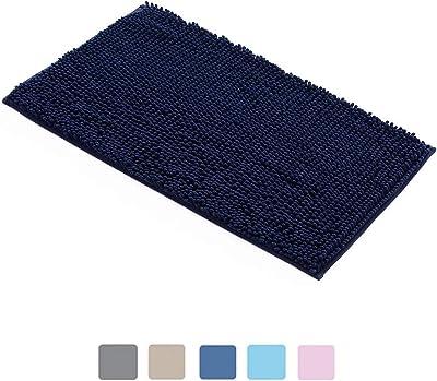 FDGSD Tapis de Bain Tapis de Bain lavables antidérapants Tapis de Porte Super absorbants So MicrofiberTapis de Douche pour Salon Salle de Bain Cuisine Chambre (Bleu Marine, 40 x 60 cm)