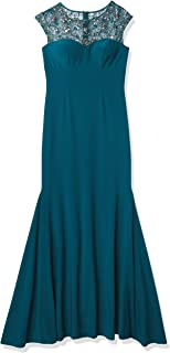 Xscape Women's Long Dress with Bead Illusion Top