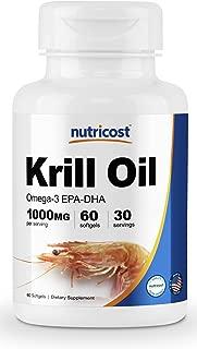 Nutricost Krill Oil 1000mg, 60 Softgels - Omega-3 EPA-DHA Krill Oil Supplement