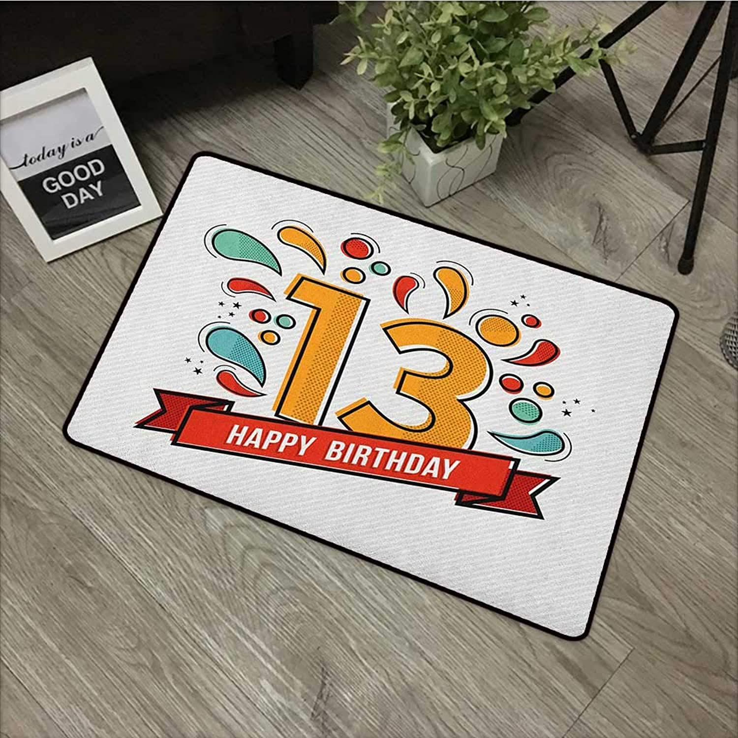 Living room door mat W35 x L59 INCH 13th Birthday,Modern Line Art Style Greeting for Thirteen Years Old Artsy Geometric Design, Multicolor Easy to clean, no deformation, no fading Non-slip Door Mat Ca