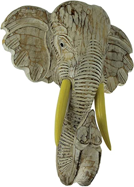 Things2Die4 Off White Hand Carved Wood Elephant Head Wall Hanging 16 Inch