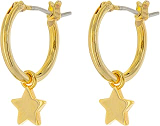 14K Gold Dipped Charm Hoop Earrings - Dangle Earrings - Moon, Star, Lightning Bolt, and Cross Drop Earrings - Small Hoops