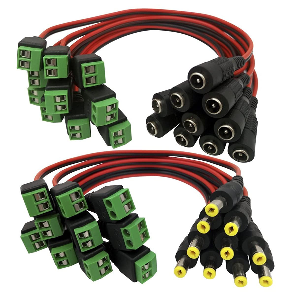 Igreeman 10 Pair Male & Female DC Power Pigtail 18 AWG 5A Cable Upgraded with Terminal Jack Socket 2.1mm 5.5mm Connectors for Home Security Surveillance Camera and Party Lighting