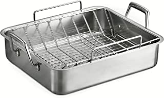 Tramontina 80203/006DS Gourmet Deep Rectangular Roasting Pan with Basting Grill and V-Rack, 16.5 Inch, Made in Brazil