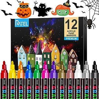 Peinture Acryliques Stylos,RATEL 12 couleurs Marqueur Peinture Acrylique Premium étanche Permanent Art Peinture Set pour l...