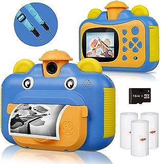 BITIWEND kindercamera, printcamera voor kinderen, 1080P HD videocamera met 2,4 inch scherm, instant camera, zwart-wit foto...