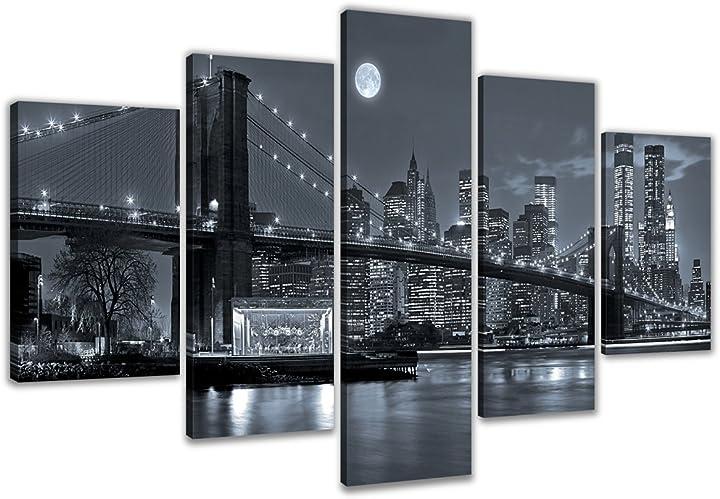 Quadro su tela con immagine di new york 5 pezzi marca originale 200 x 100 cm visario B00Q52YIQY