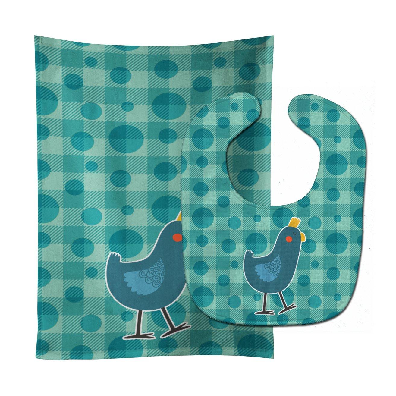 Caroline's Treasures BB6786STBU Polkadot Chicken Baby Bib & Burp Cloth, 11 x 18
