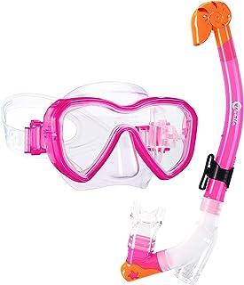 ماسک اسنورکل دورل بچه گانه ماسک اسنورکل با اسنورکل خشک ممتاز و عینک ضد غوطه وری ضد نشت غواصی اسنورکلینگ مخصوص کودکان اسنورکل