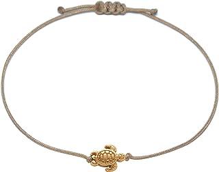 Schildkröten Armband Roségold – Braunes Textil Armband mit roségoldener..