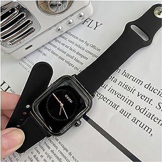 Elegant Classic Square Head Rose Gold Analog Quartz Watch Silicone Strap Wristwatch (Color : Black-black frame)