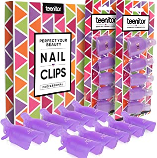 Teenitor Acrylic Nail Polish Remover Clips, 20 Pieces Reusable Toenail and Finger Gel Nail Polish Remover Clips, Fit For Nail Polish Remover Wraps - Purple