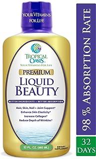 Liquid Beauty | Maximum Strength Hair, Skin & Nails Vitamin | 12,500mcg Biotin, Collagen, Bamboo, DHT Blocker & More| Fast Hair Growth, Less Hair Loss + Healthier Skin & Nails- 98% Absorption, 32 Serv