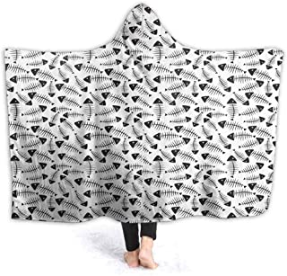 prunushome Oversized Hoodie Blanket Sweatshirt Funny Fish Bone Abstract Super Soft Warm Pullover for Adults Men Women Teenages Kids 80W by 60H Inches(with Hooded)