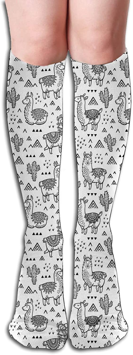 Men/Women Sports socks Abstract Triangles With Doodle Style Alpacas In Monochrome Design Cartoon Pattern Wicking Breathable Cushion Comfortable Casual Crew Socks 8.5 x 50cm