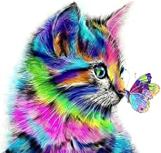Diamond Painting Kits for Adults,Colorful Butterfly Kiss Cat,Gem Art and Craft Puzzle,DIY 5D Full Round Diamond Drill,Embr...