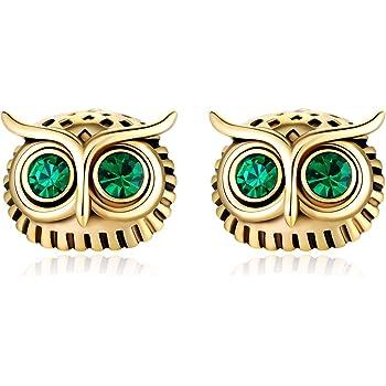 Night Owl Stud Earrings with AAA Cubic Zirconia