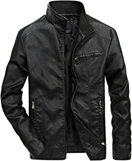 Men's Leather Jacket Stand Collar PU Mens Faux Fur Coats Motorcycle Jacket