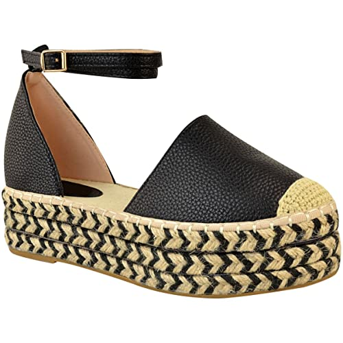 ee9dd384c6b0 Fashion Thirsty Womens Mid Wedge Espadrille Sandals Platform Hessian Summer  Shoes Size