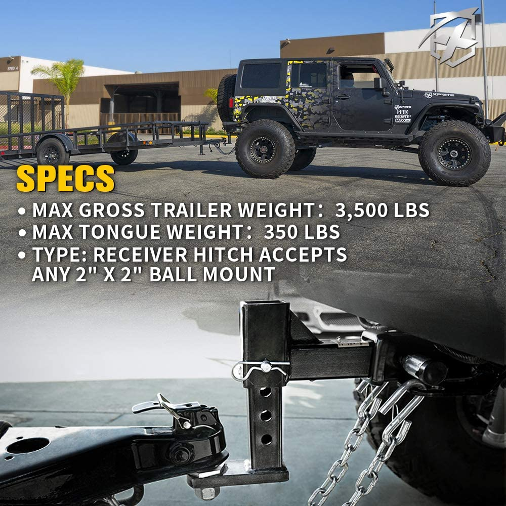 Xprite 2 Inch Towing Trailer Hitch Receiver with Hitch Cover for 2018-2020 Jeep Wrangler JL//JLU 2 Door /& 4 Door