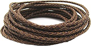 3.0mm Braided Leather Cord Round Braided Leather Cord Leather Working Cord String Cord 5Meter (Brown)