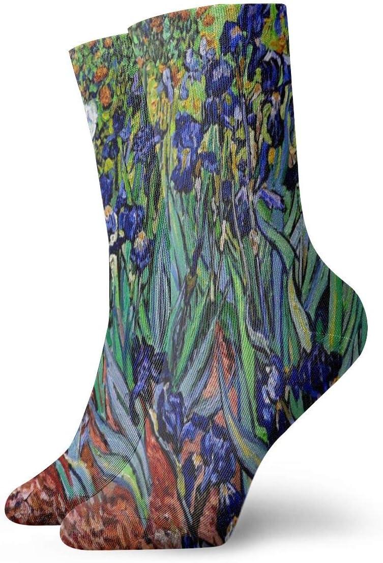 Unisex Casual Art Painting Vincent Willem Van Gogh Irises 1889 Inverted Socks Moisture Wicking Athletic Crew Socks