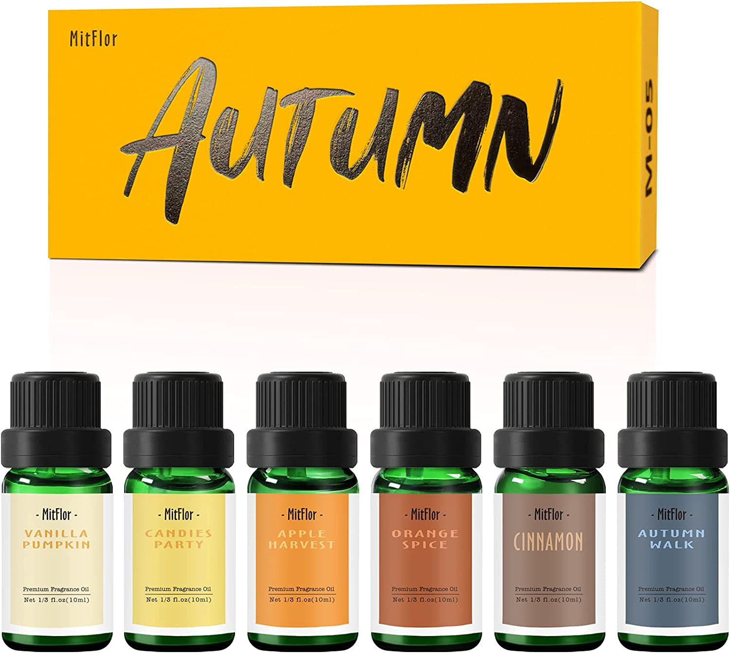 Autumn Fragrance Oils, MitFlor Premium Scented Oils, Essential Oils for Diffuser, Candle & Soap Making Scents, Fall Aromatherapy Oil Gift Set, Cinnamon, Orange Spice, Vanilla Pumpkin and More
