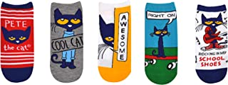 Pete the Cat Socks Gifts (Adult) (5 Pair) - Pete the Cat Merchandise Costume Lowcut Socks - Fits Shoe Size: 4-10 (Ladies)