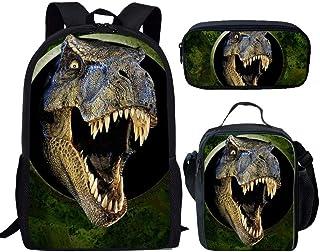 HUGS IDEA Dinosaur Backpack Set 3D Animals Green School Book Bag with Lunch Box Pen Case for Kids Boys