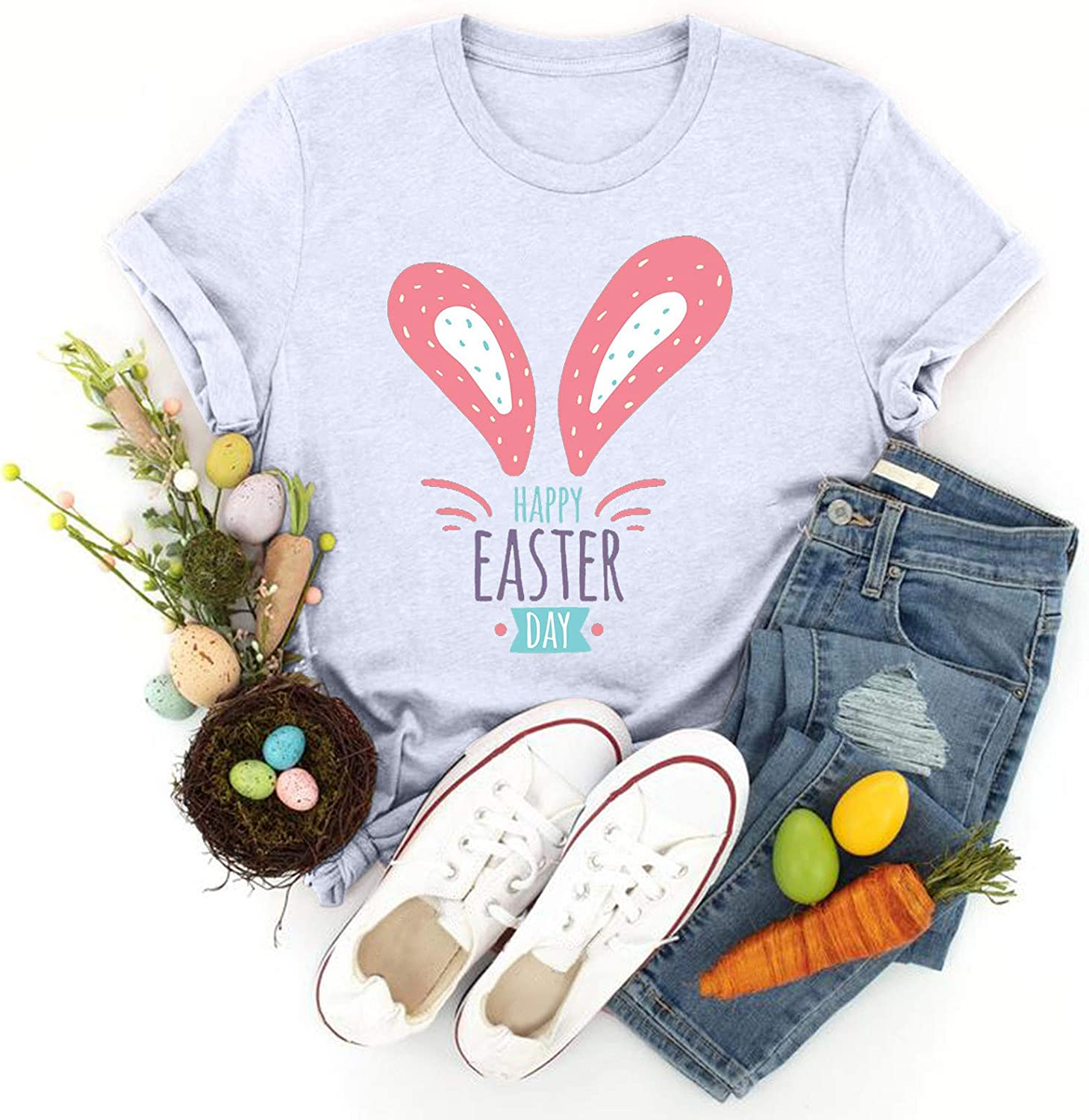 Shan-S Womens Easter trust T Shirt Sleeve Bunny Weekly update Adorable Printed Short