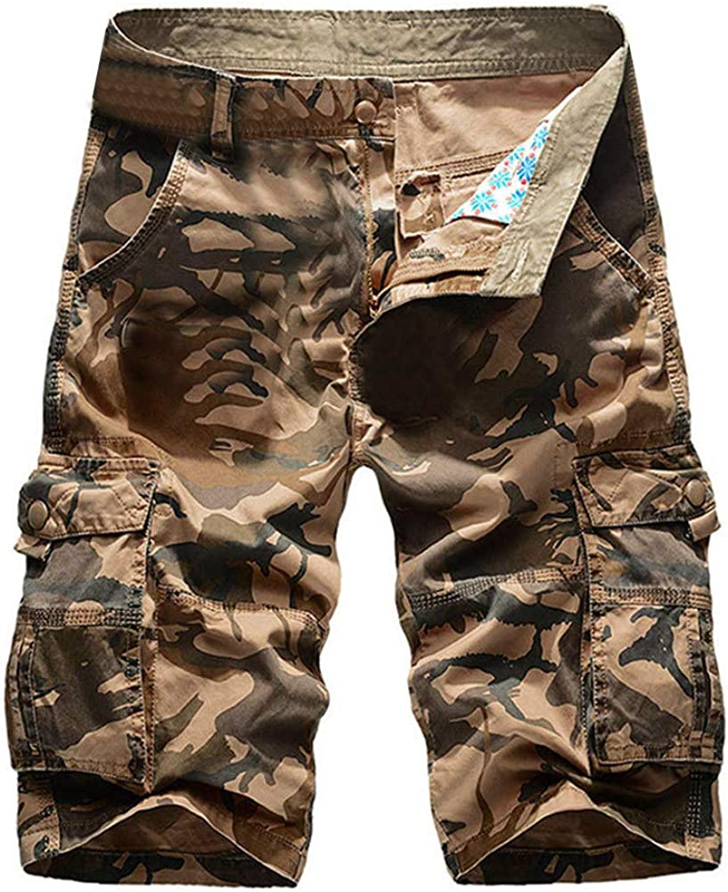 WUAI-Men Cargo Shorts Casual Loose Fit Multi-Pocket Cotton Twill Bermuda Camo Shorts Summer Beach Shorts Big and Tall
