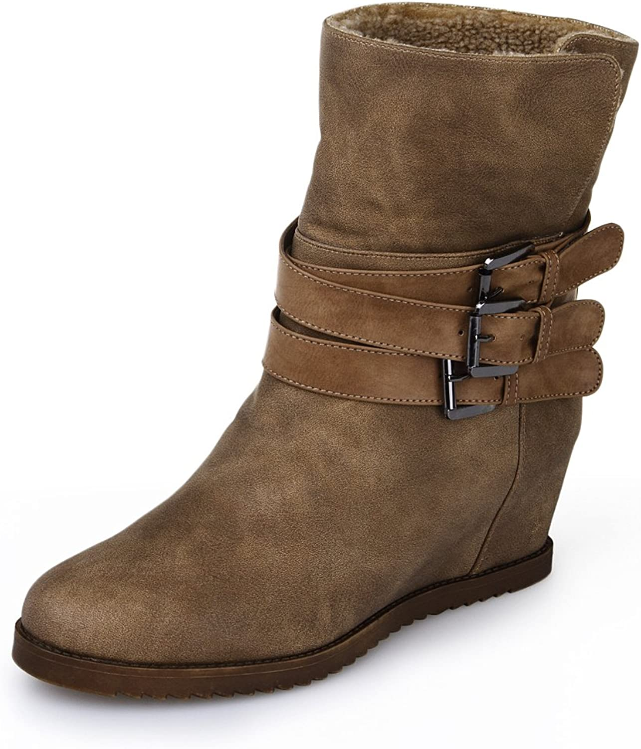 Alexis Leroy Women and Girls' Fashion Warm Inside Wedges Triple Buckles Ankle Winter Boots Khaki 40 EU   9-9.5 US