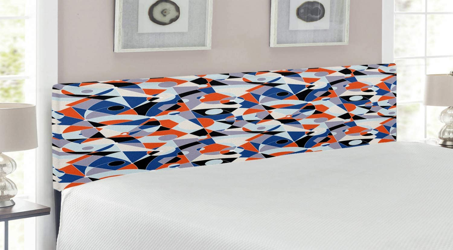 Ambesonne Mid Century Sales Headboard Mosaic Various Co Shapes Animer and price revision of