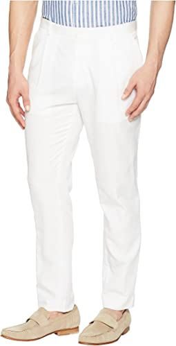 Calvin Klein Linen Tapered Carrot Fit Pleated Pants
